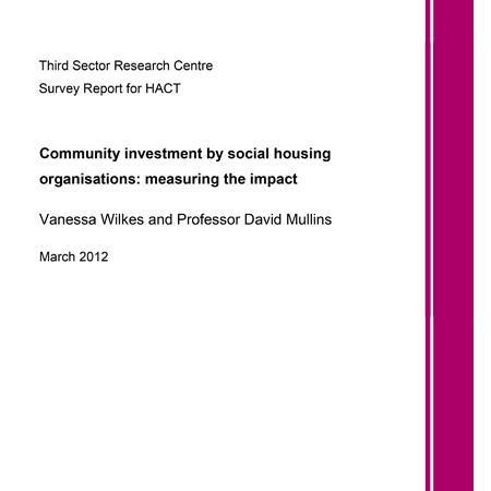 Community investment by social housing organisations: measuring the impact