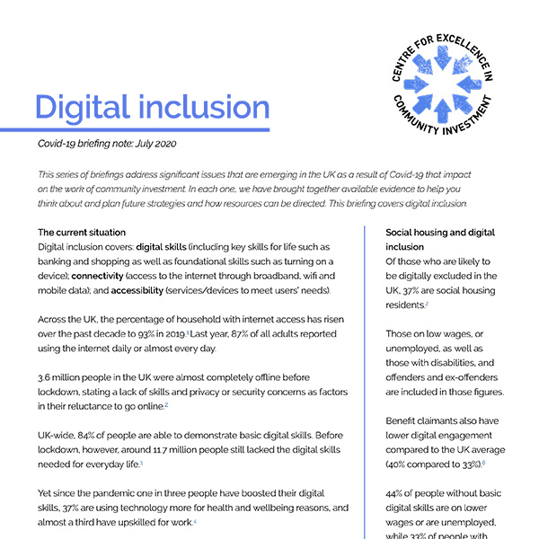 Digital inclusion and Covid-19 briefing