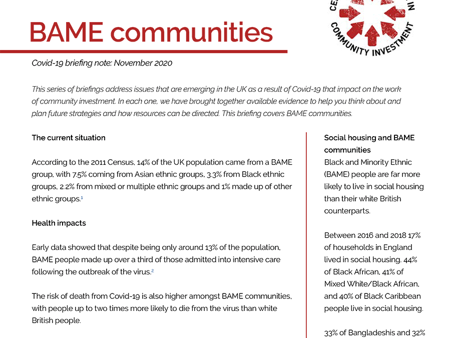 BAME communities and Covid-19 briefing