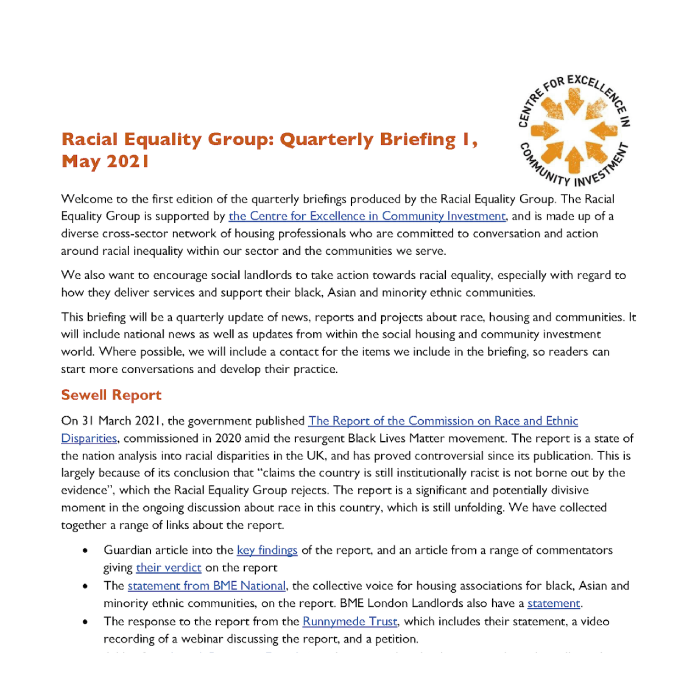 Racial Equality Group: Briefing 1